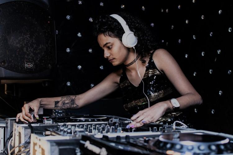 A woman DJing